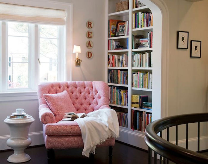 Cozy Reading Nook With A Mini Home Library