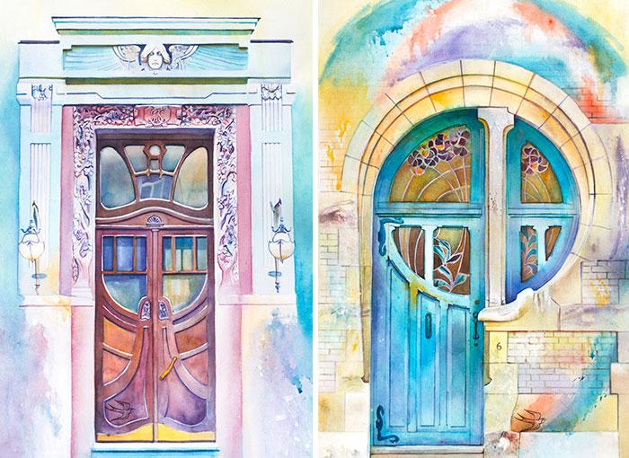 Ukrainian Artist Travels The World Painting Doors In Watercolor