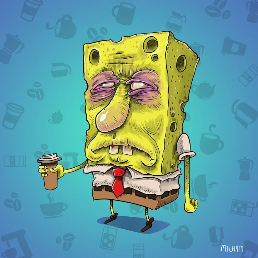Spongebob Before Coffee