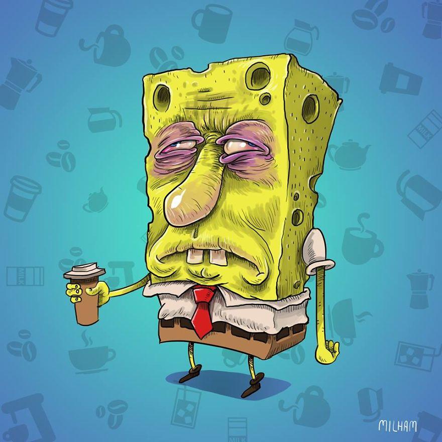 Spongebob Before Coffee