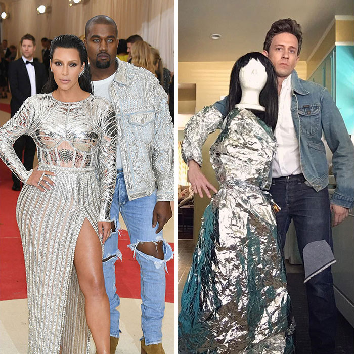 Tom Lenk With Mannequin As Kanye West And Kim Kardashian At Met Gala