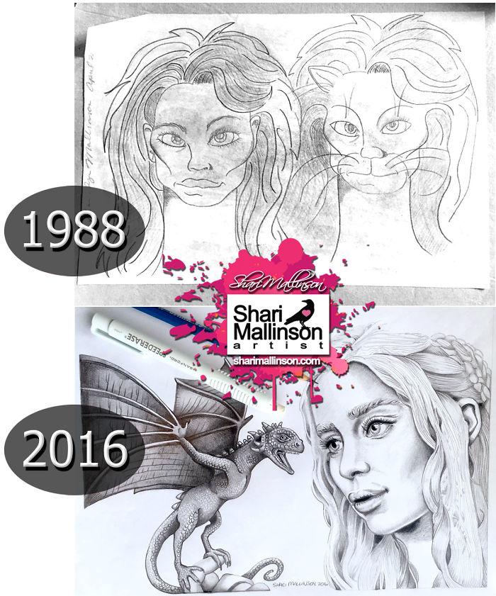 1988 Vs. 2016 Pencil Work