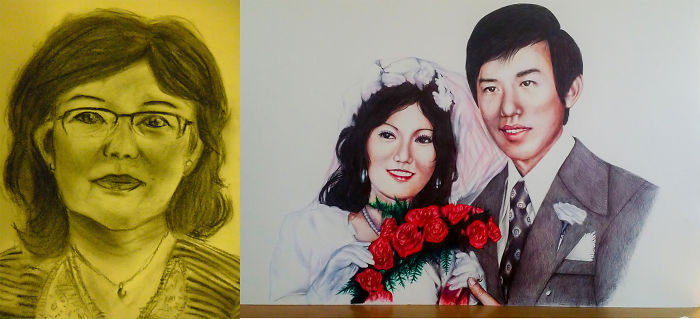 2012 (charcoal Drawing Of My Aunt) Vs 2015 (pen Drawing Aunt's Marriage Photo)