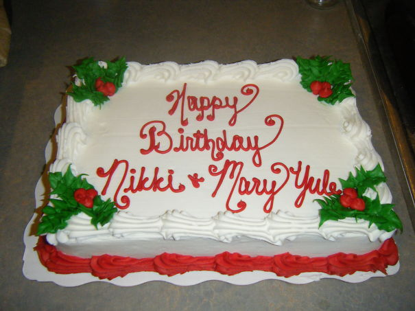 "Walmart Messed Up, It's Suppose To Say ""happy Birthday Nikki & Merry Yule."""