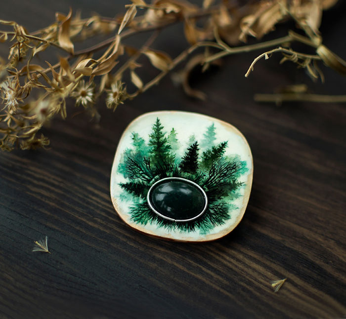 I Create Brooches With A Mystical Feel From Wood And Gemstones