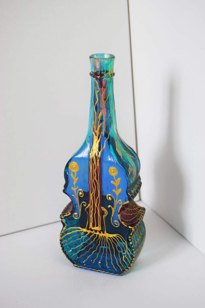 Artist Creates Intricate Patterns On Used Glass Bottles