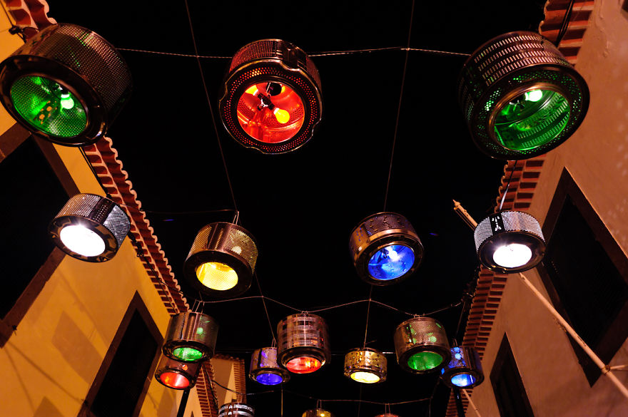 We Turned 133 Old Washing Machine Drums Into Street Lamps