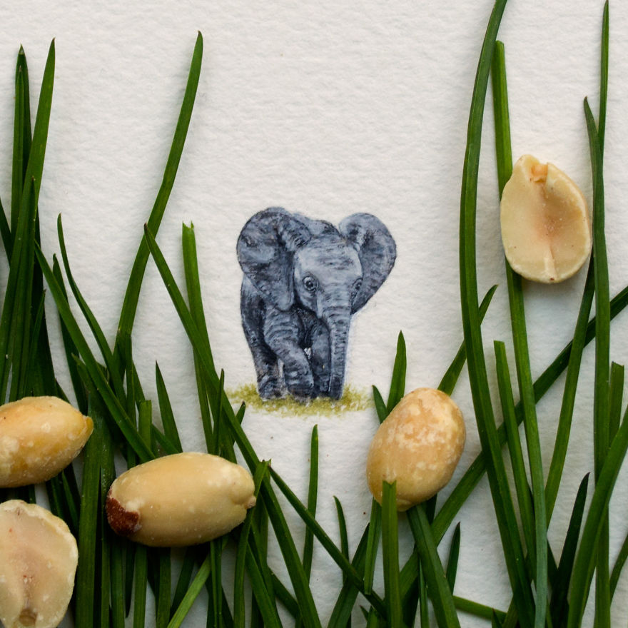Elephant. One Of The First Animals I Had Ever Attempted Painting