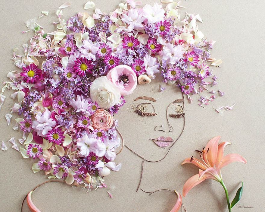 I Balance Twigs And Flowers To Create Intricate Portraits