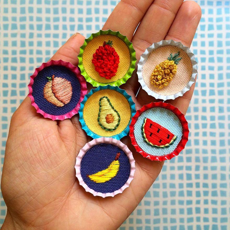 Bottlecap Fruit Pins