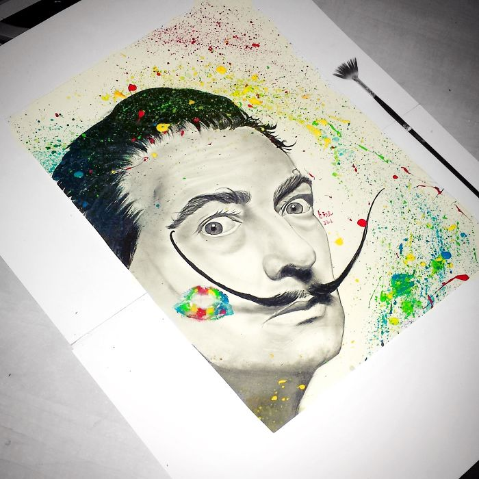 I Complete My Pencil Drawings By Splashing Acrylic Paint To Make Them Look Different