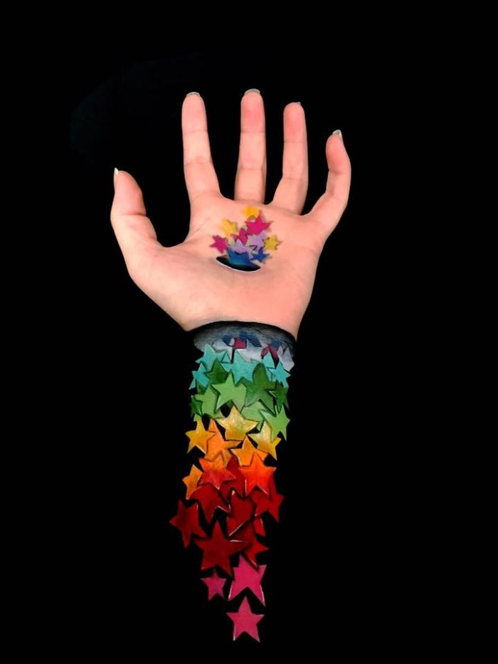 Illusion Paintings On My Arm And Hand..