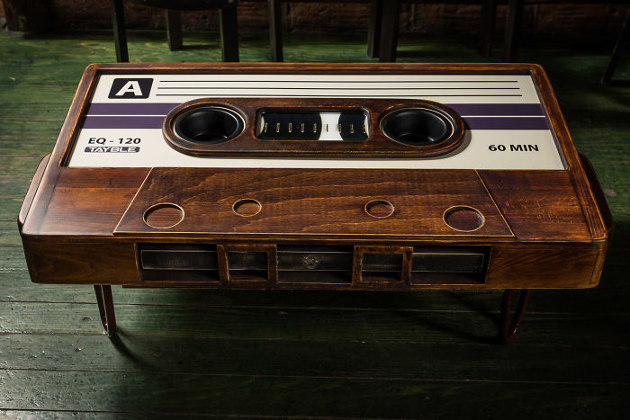 My Friend Made This Awesome Cassette Tape Coffee Table