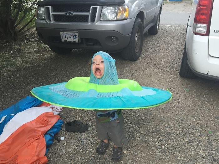Challenge: Photoshop This Child With A Raft On His Head