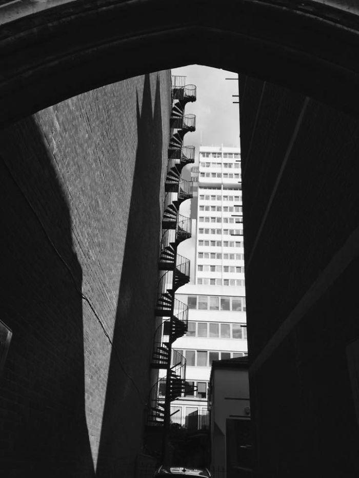 Spiral Staircase Fire Escape Black And White