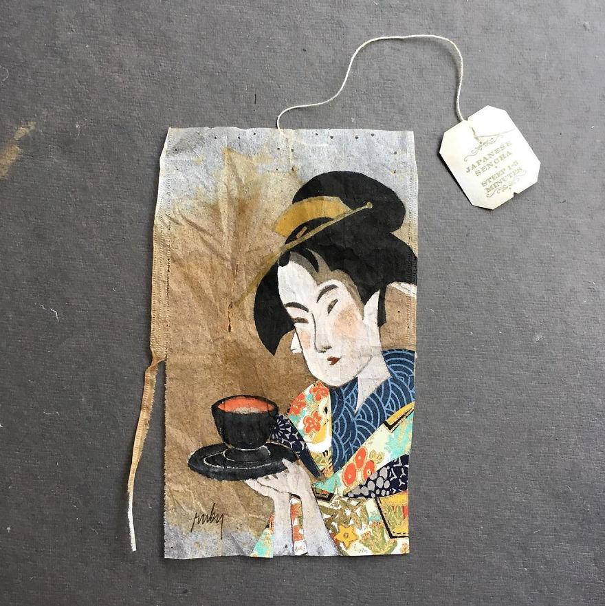 Картинки по запросу paintings on tea bags