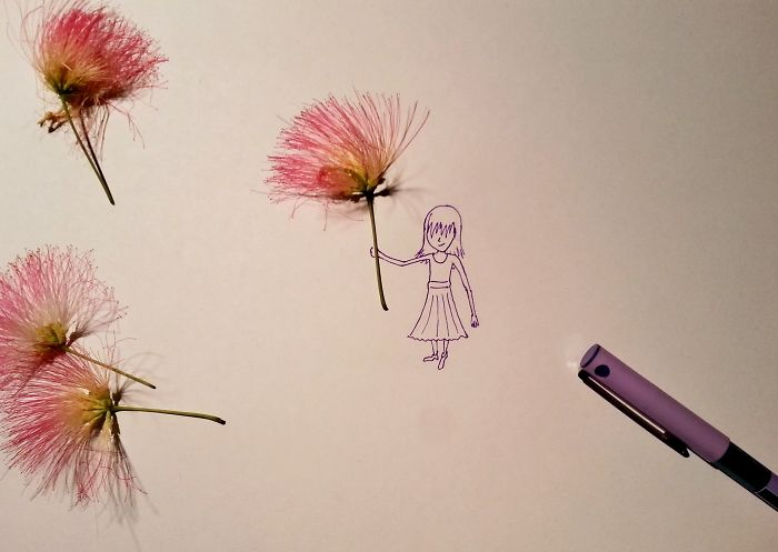I Draw Stories Of Tiny People Using Real Flowers