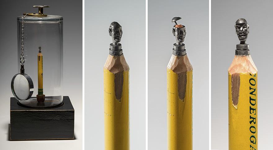 I carved a family of elephants into pencil bored panda
