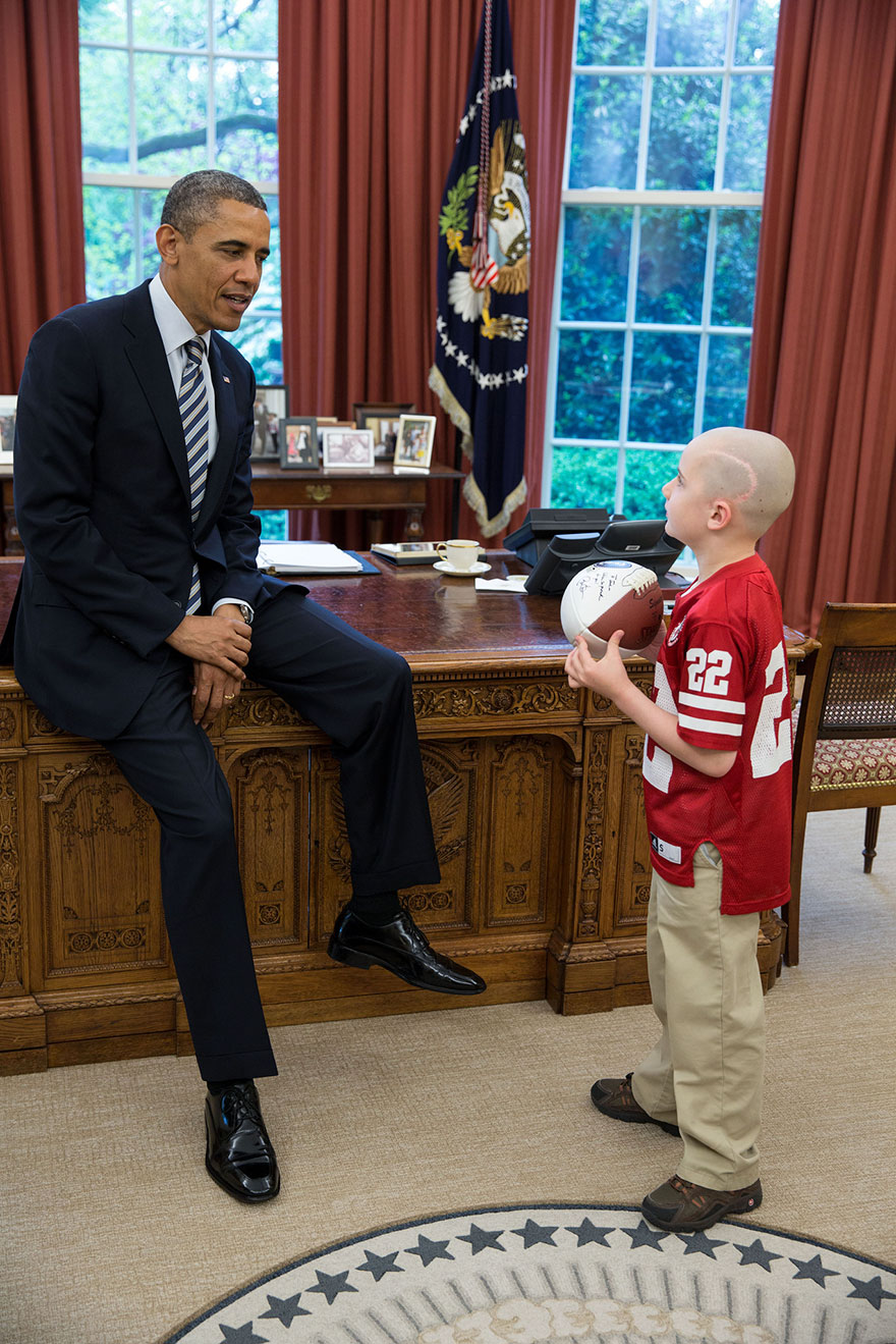 President Barack Obama Meets With 7-Year-Old Jack Hoffman In The White House