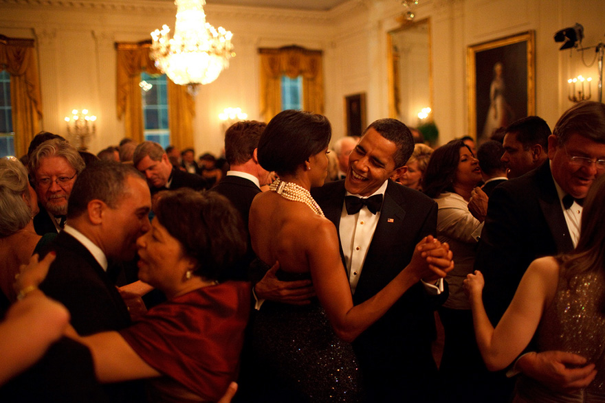 President Barack Obama And First Lady Michelle Obama Dance At The Governors Ball
