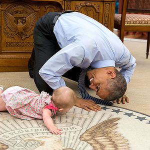 Barack Obama Crawling With Ella Rhodes