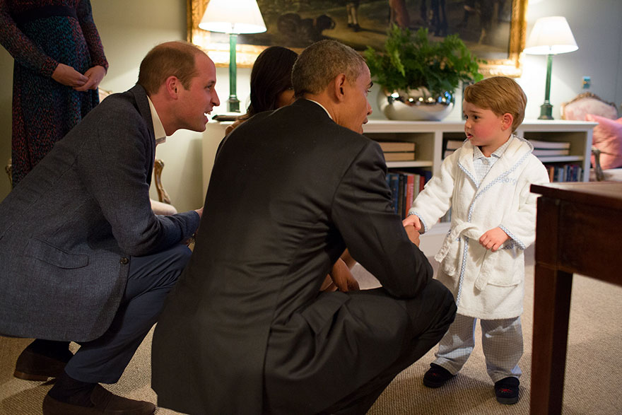 President Barack Obama With First Lady Michelle Obama Meets Prince George