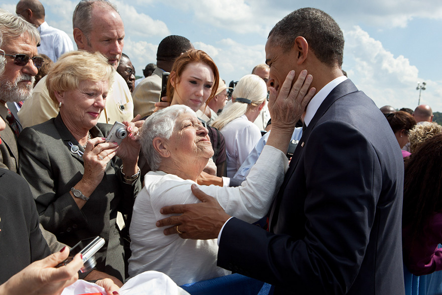 The President Greets A Woman Following A Ceremony To Commemorate The Tenth Anniversary Of 9/11 At The Flight 93 National Memorial In Shanksville