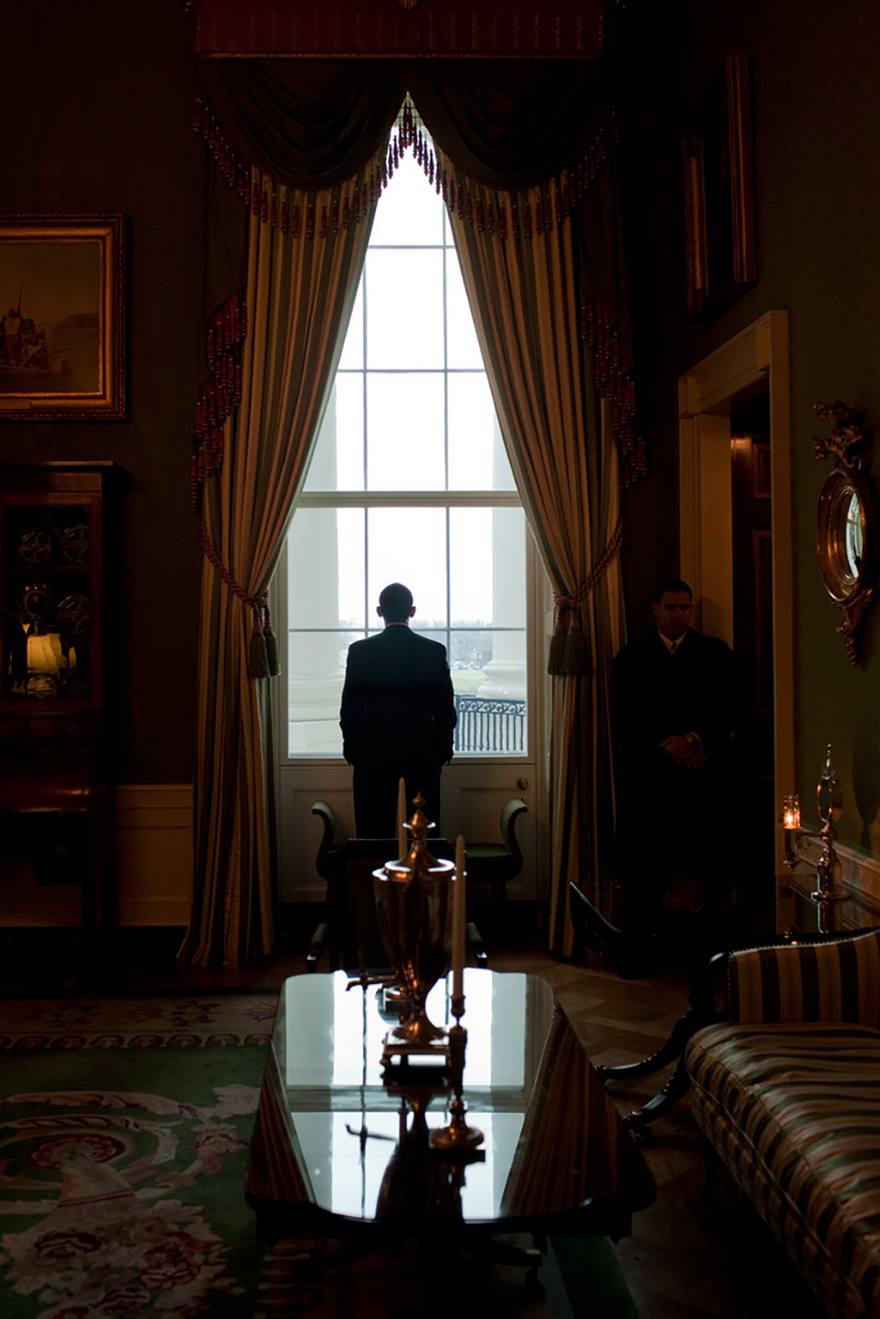 President Barack Obama Looks Out The Green Room Window