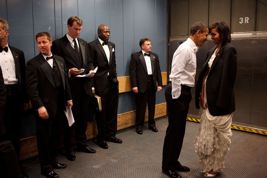 President Barack Obama And First Lady Michelle Obama Share A Private Moment