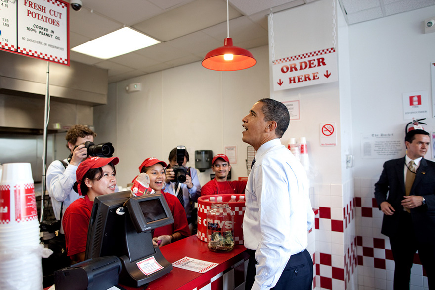 President Obama Orders Lunch At Five Guys In Washington, D.C. During An Unannounced Lunch Outing