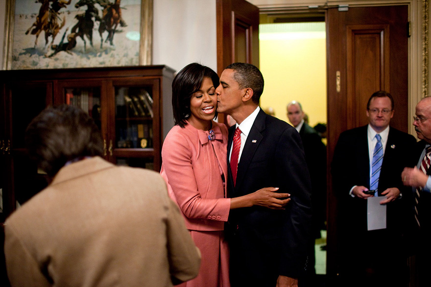 President Barack Obama Kisses First Lady Michelle Obama