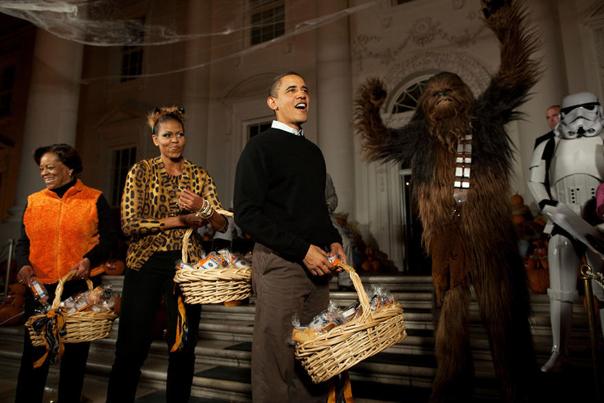 Barack Obama, First Lady Michelle Obama And Marian Robinson Welcome Children From Washington, D.C., Maryland And Virginia Schools For Halloween Festivities At The North Portico Of The White House
