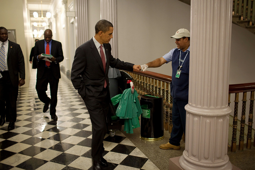 President Barack Obama Fist-Bumps Custodian Lawrence Lipscomb