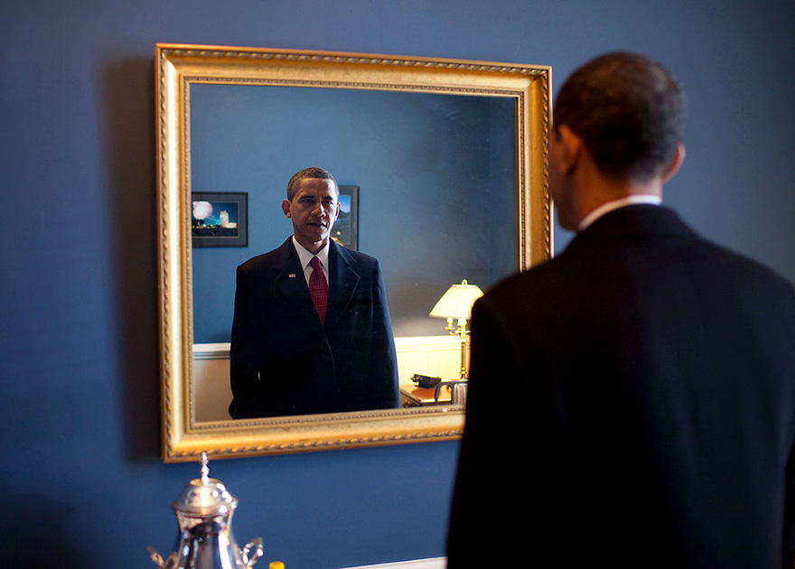 Barack Obama Takes One Last Look In The Mirror, Before Going Out To Take Oath