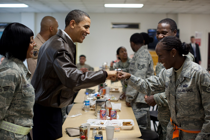 President Barack Obama Greets U.S. Troops At A Mess Hall At Bagram Airfield In Afghanistan
