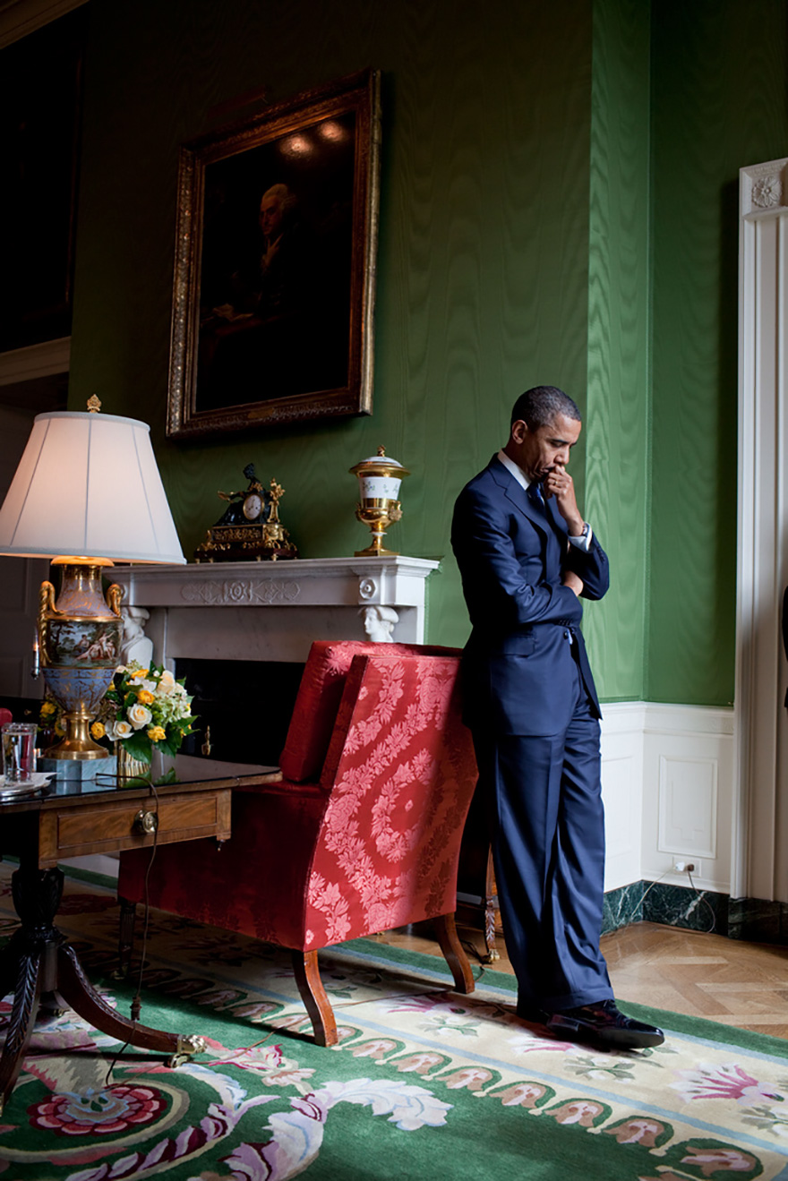 President Barack Obama Waits In The Green Room Before Being Introduced At The White House Summit On Community Colleges