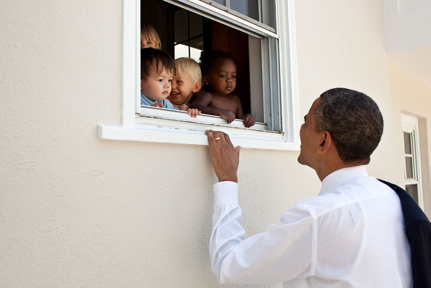 Skeptical Infants Peer At The POTUS Through A Window