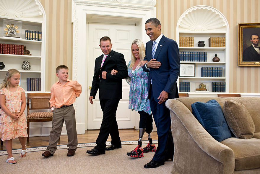 President Barack Obama Welcomes Stephanie Decker. Decker lost her legs while saving her two children during a tornado in southern Indiana in March