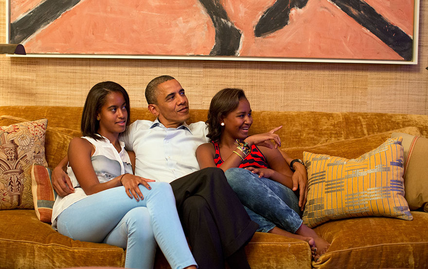 President Barack Obama And His Daughters Watch On Television As First Lady Michelle Obama Begins Her Speech At The Democratic National Convention