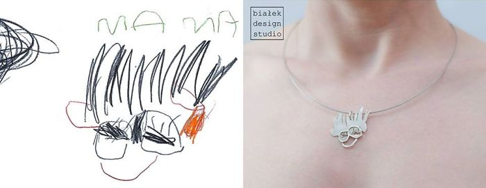 Children's Drawings Inspired Jewelry Made By The Polish Artist Bialek Design Studio