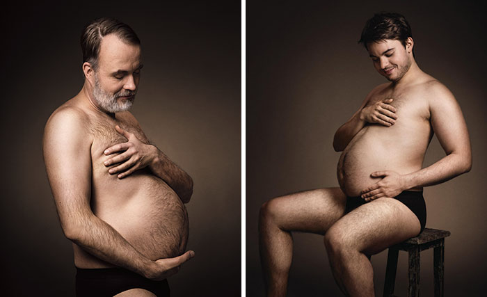 German Beer Ad Shows Men Cradling Their Beer Bellies Like Pregnant Moms