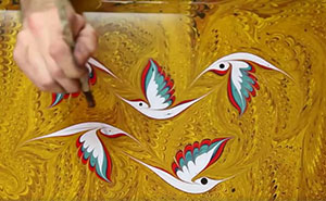 Turkish Artist Paints On Water Using One Of The Oldest Turkish Art Techniques Called Ebru