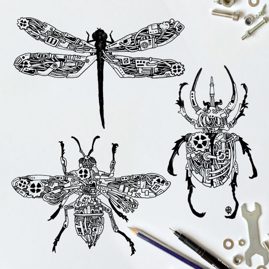 I Doodle Animals And Objects With A Steampunk Twist