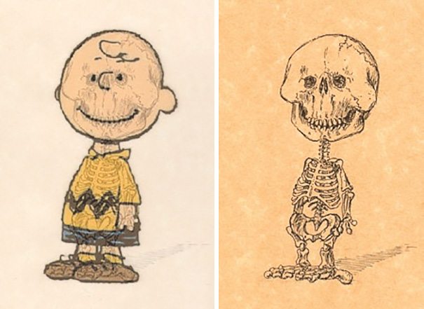 Artist Reveals The Skeletons Of Famous Cartoon Characters Bored Panda