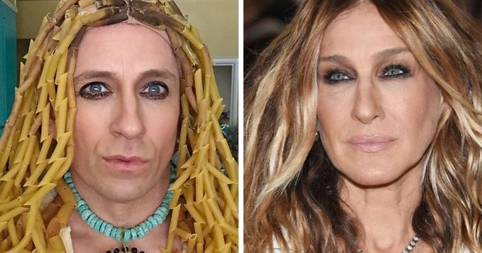 09876f6363ee Former 'Buffy' Star Recreates Celebrity Outfits Using Stuff He Finds At Home