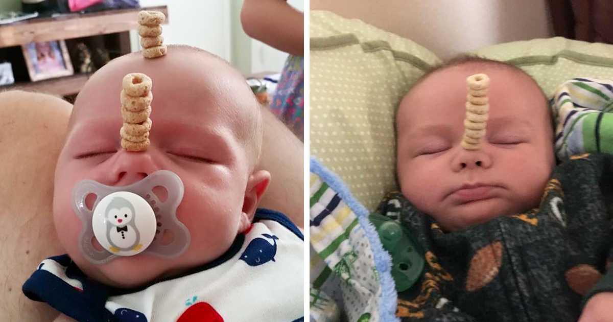 Dads Compete To See Who Can Stack More Cheerios On Their Babies