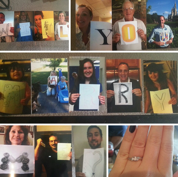 My Boyfriend Got All Our Family Members To Hold Up A Letter, And Hid The Pictures Around Our House As A Scavenger Hunt