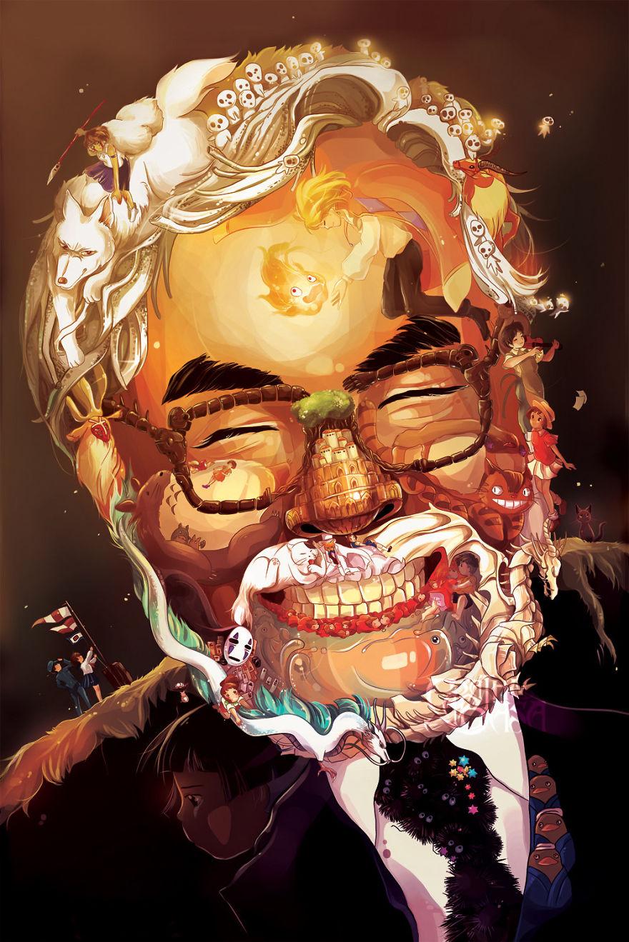 Hayao Miyazaki Art Portrait