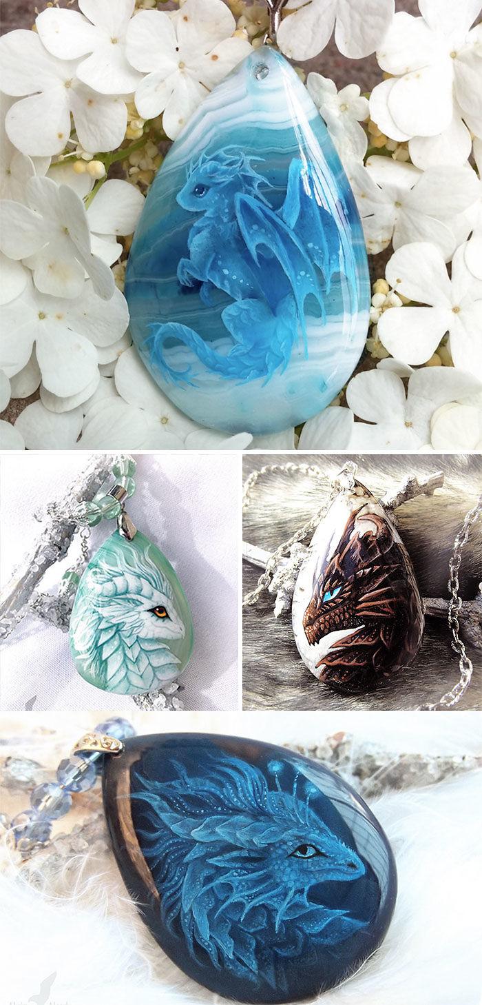 Hand-Painted Dragon Pendants
