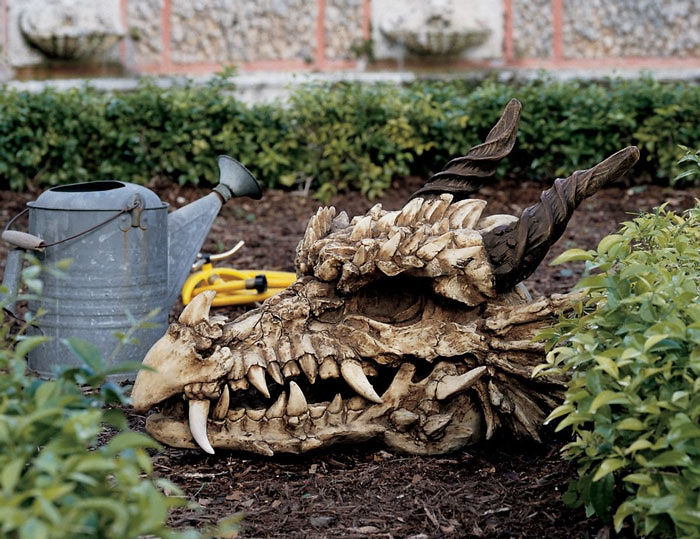 Dragon Skull Garden Sculpture